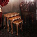 送料無料 ヴェローナクラシック 猫脚象嵌ネストテーブル イタリア 家具 ヨーロピアン アンティーク風